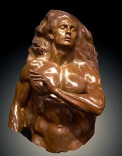 """Adam Fragment"", Frederick Hart, Bronze Sculpture, Figurative Man, Biblical"