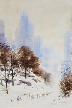 """Silhouette of Metro Plains"", Bogomir Bogdanovic, Watercolor, Impressionism"