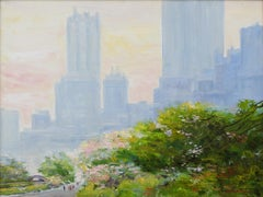 """Central Park in May III"", Bogomir Bogdanovic, Oil on Canvas, Impressionist"