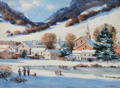 """Approaching Holidays"", Bogomir Bogdanovic, Oil on Canvas, Impressionist, Snow"