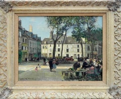 """""""Sunday Afternoon"""", Jules Herve, Oil on Canvas, French Impressionism Parisian"""
