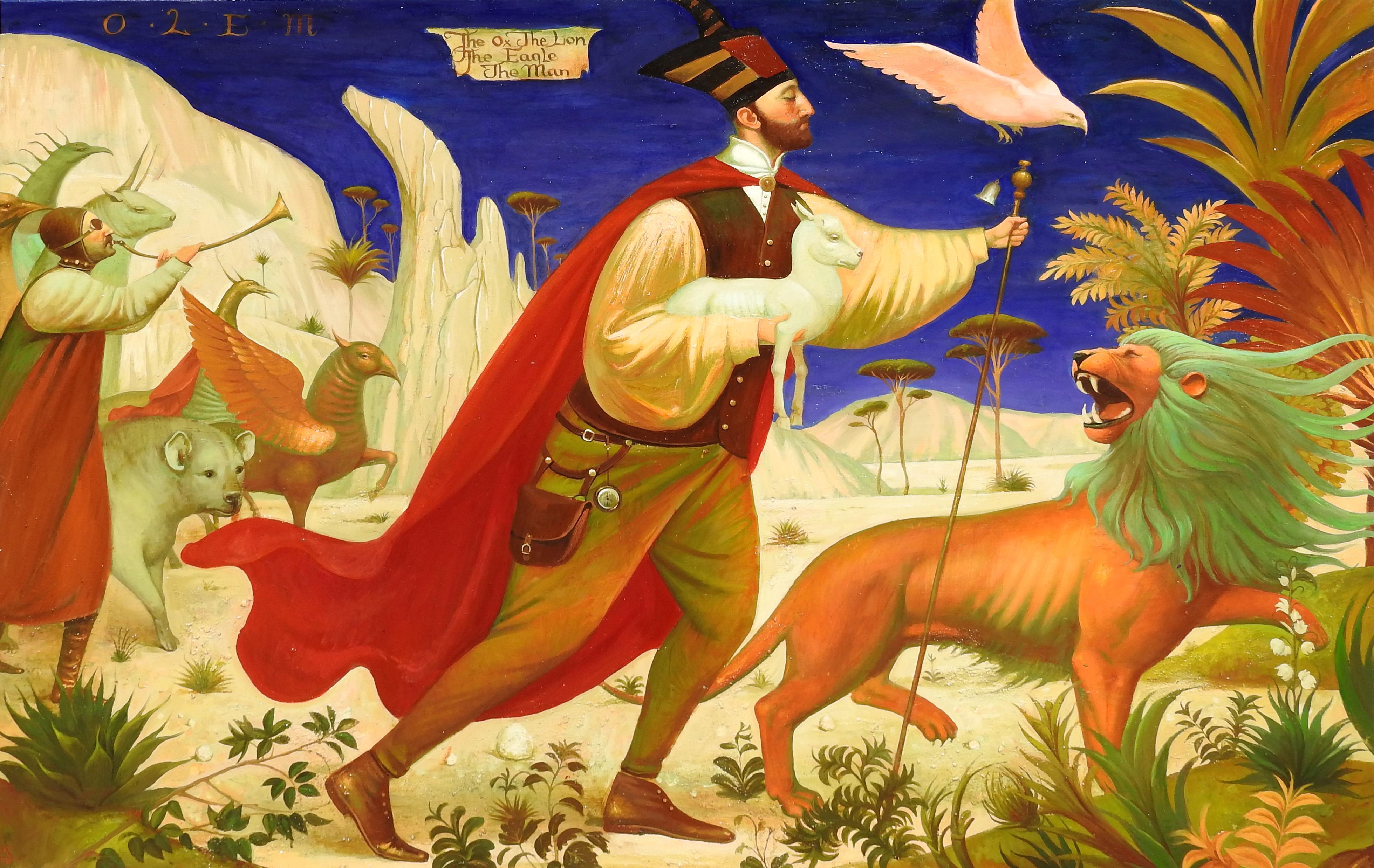 """""""The Ox, The Lion, The Eagle, The Man"""", Igor Samsonov, Oil on Canvas, Surrealist"""