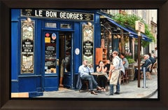"""My Favorite Cafe in Paris"", Jesus Navarro, Oil on Canvas, Photo Realism"