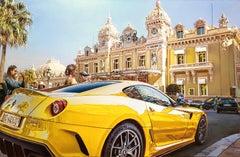 """Yellow Ferrari"", Oleg Turchin, Oil on Canvas, 36"" x 54"", Photorealism Painting"