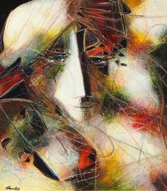 """Perou dans la Pensée"", Jean-Claude Gaugy, Oil on Board, French, Contemporary"