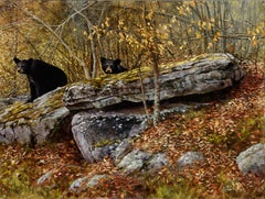 """""""Looking For Trouble"""", Robert Fobear, Oil on Canvas, Wild Animals, Bears, Forest"""