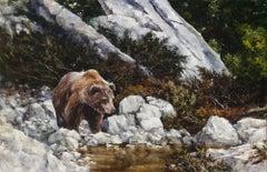 """Afternoon Drink"", Robert Fobear, Oil on Linen, Wildlife, Forest, Bear, Creek"