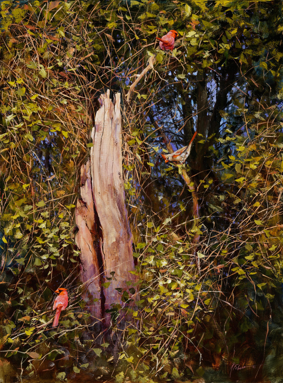 """Love Triangle"", Robert Fobear, Oil on Canvas, Realism, Wildlife, Forest, Bird"