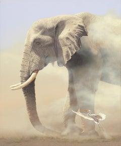 """Duel in the Dust"", Rob MacIntosh, Realism, African, Animal, Elephant, Bird"