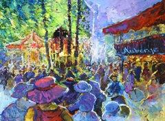 """""""l'Auberge de la Place au Manège"""", Gerard Valtier, Oil on Canvas, French, Hotel"""
