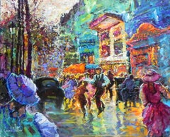 """Devant la Petit Theatre"", Gerard Valtier, Oil on Canvas, French, Street Scene"