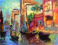 """Rendez-vous Ventetien"", Gerard Valtier, Oil on Canvas, Venice, Gondola, Street"