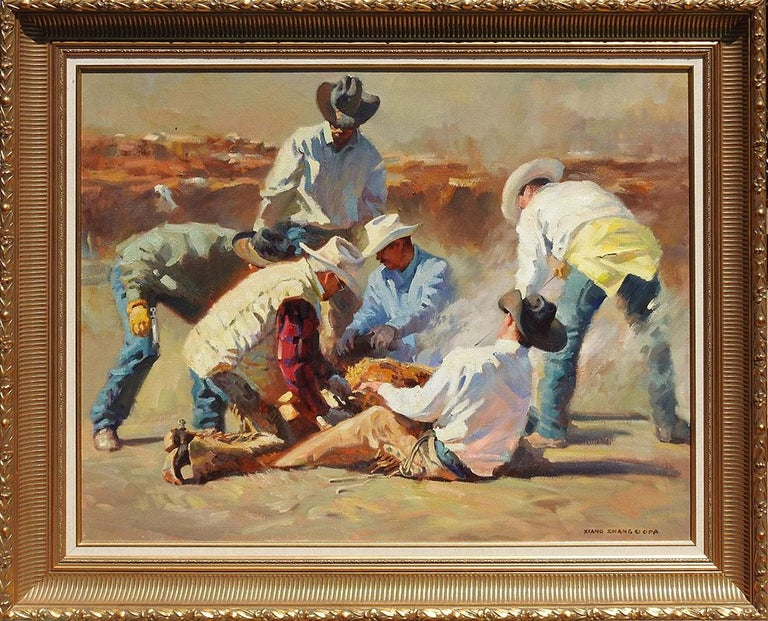"""In Good Hands"", Xiang Zhang, Brown Impressionist, Western, Cowboy, Ranch  - Painting by Xiang Zhang"