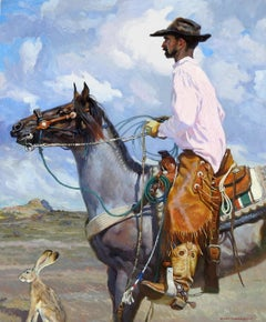 """Jack and Rabbit"", Xiang Zhang, Blue Impressionist, Western, Cowboy, Horse"