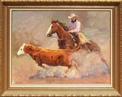 """Not So Fast"", Xiang Zhang, Brown Impressionist, Western, Cowboy, Horse, Cow"