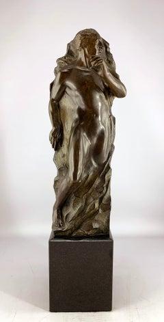 """""""Adam Maquette"""", Frederick Hart, Bronze Figurative Man Sculpture, 21x5x5 in."""
