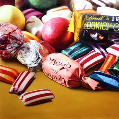 """""""Sinful Delights"""", Jesus Navarro, Oil on Canvas, 39x39 in., Photo Realism, Candy"""
