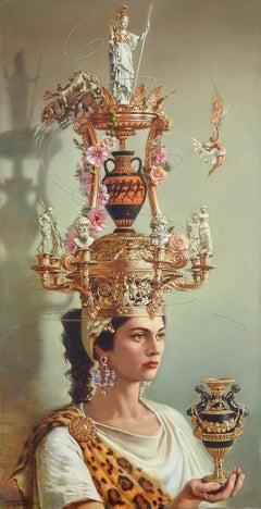 """Antiquity"", Oleg Turchin, Surrealism, Figurative, 58x30 in, Baroque Hat Series"