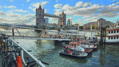 """Tower Bridge"", Oleg Turchin, Oil/Canvas, 37x60, Photorealism Landscape Original"