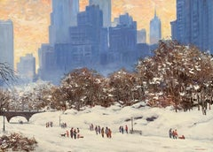 """Winter in Central Park"", Bogomir Bogdanovic, Oil on Board, Impressionist, Snow"