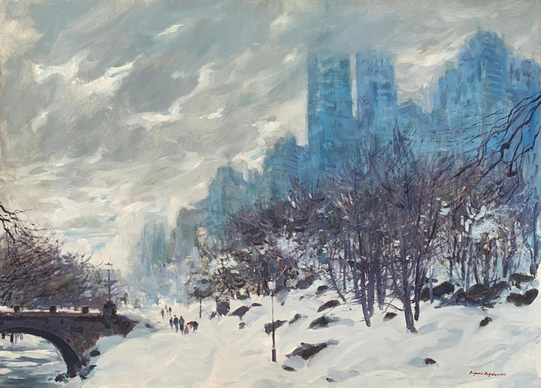 """Winter in New York"", Bogomir Bogdanovic, Oil on Board, Impressionist, Snow - Painting by Bogomir Bogdanovic"