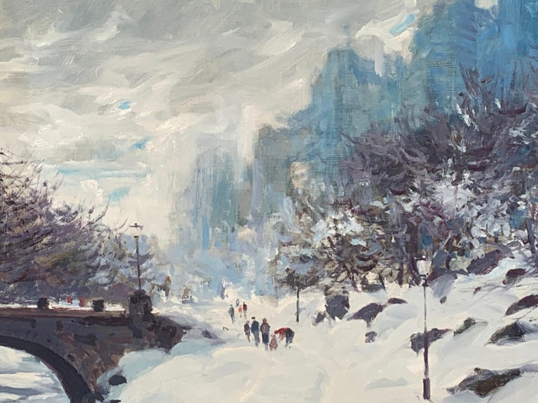 This original oil painting from Bogomir Bogdanovic is a perfect representation of his paintings that he is most known for of Central Park New York in the snow. In this original oil painting you can see people with their families walking around in