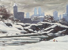 """Central Park - Shakespeare Theater"", Bogomir Bogdanovic, Oil on Board, Snow"