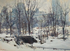 """Snow in New York"", Bogomir Bogdanovic, Oil on Board, Impressionist, Snow"