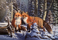"""""""Touch of Red"""", R.W. Hedge, Original Oil on Canvas, 31x50 in, Red Fox, Landscape"""