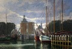 """Harbor Scene"", Henni de Korte, 19x27 in, Oil on Canvas, Classical Impressionism"
