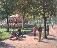 """Park Scene"", Henni de Korte, 20x24 in, Oil on Canvas, Classical Impressionism"