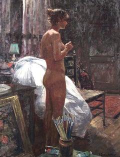 """In the Artist's Studio"", Henni de Korte, 31x23 in, Oil on Canvas, Impressionism"
