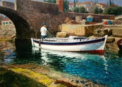 """A Quiet Repair"", Henni de Korte, 27x35 in, Oil on Canvas, Classic Impressionism"