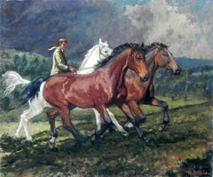 """Taming Wild Horses"", Henni de Korte, 23x27 in, Oil on Canvas, Impressionism"