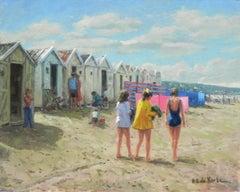 """The Beach"", Henni de Korte, 20x24 in, Oil on Canvas, Classical Impressionism"