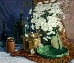 """Still Life w/ Daises"", Henni de Korte, 23x27, Oil on Canvas, Impressionism"