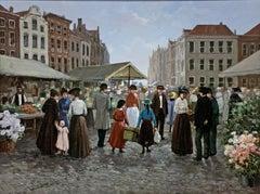"""Market"", Henni de Korte, 28x36 in, Oil on Canvas, Classical Impressionism"
