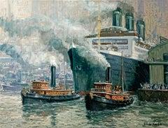 """Rotterdam Harbor"", Henni de Korte, 20x24 in, Oil on Canvas, Impressionism"