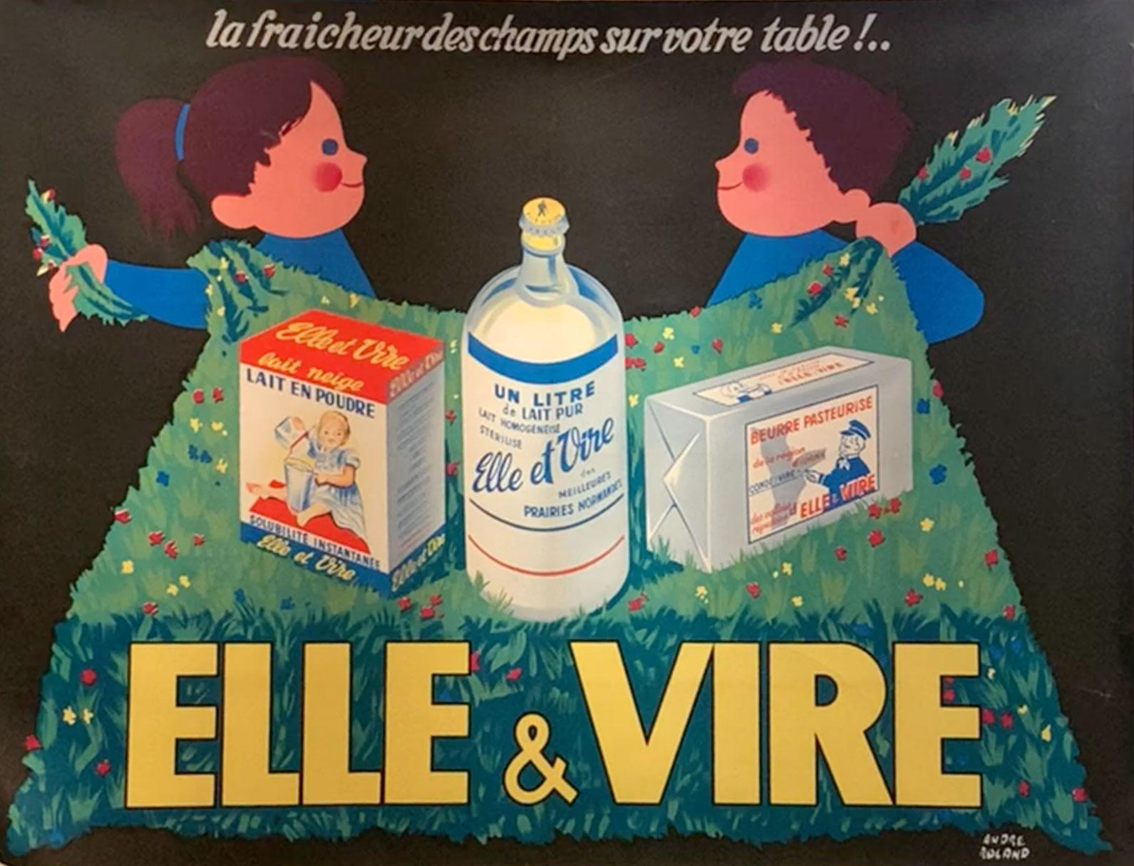 """Original Antique French Poster, """"Elle and Vire"""", Andre Roland, Lithograph"""