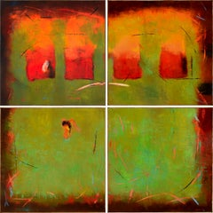 """Still Life - Quadriptych"", Poteet Victory, Modern Native American, 96x96 in."