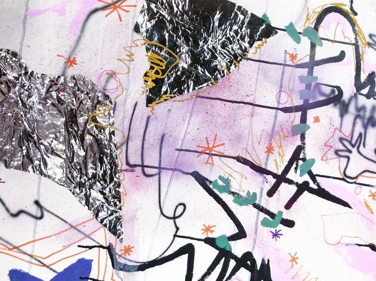 """In """"whatalife"""", American Emerging Artist Millie Weeks works in Acrylic, Permanent Marker, Gesso, Foil and Airbush on Canvas, one of her most materially diverse pieces to date. Through this medium, Millie Weeks creates a diverse universe within the"""