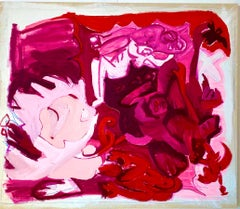 Pink Abstract Oil on Canvas by Contemporary Artist
