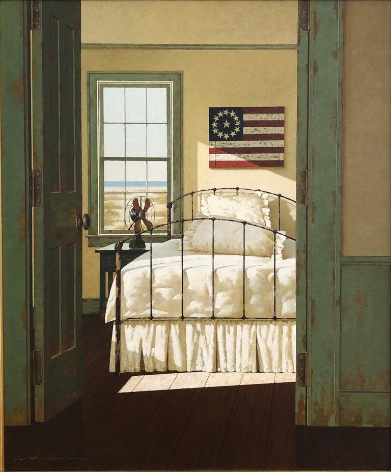 "Zhen-Huan Lu, ""American Beach House"", classic realist oil painting interior flag - Painting by Zhen-Huan Lu"
