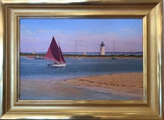 Sailboat and Vineyard Lighthouse