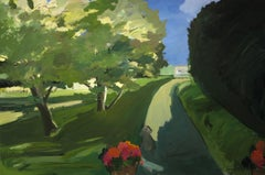 """CORNELIA FOSS """"Charlie in the Driveway"""" green and blue oil landscape with dog"""