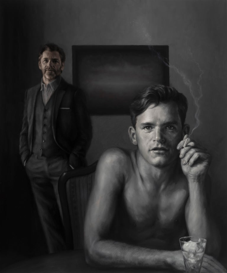"Rainer Andreesen, ""Grey Matter"" double portrait 2 men monochromatic oil canvas - Painting by Rainer Andreesen"
