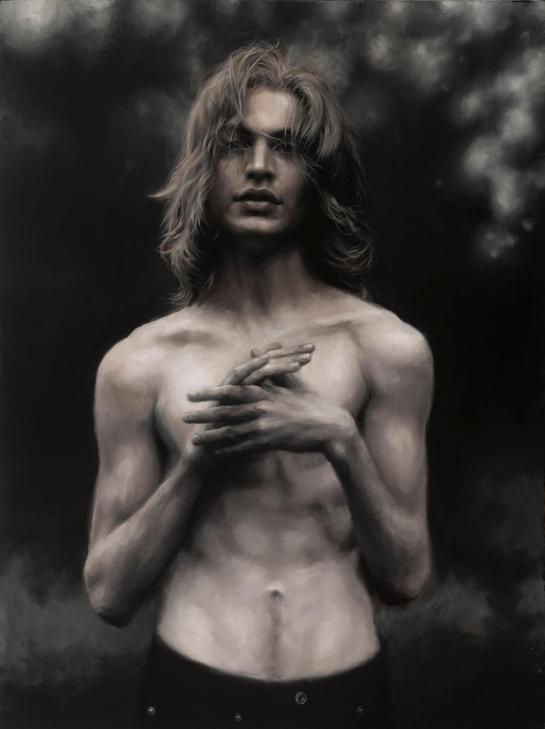 """Rainer Andreesen, """"Andrew"""", monochromatic portrait of young man oil painting - Painting by Rainer Andreesen"""