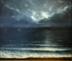 "Rainer Andreesen, ""Winter Sky"", dark seascape with cloudy night sky oil painting"