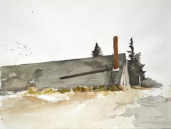 "Terry Elkins, ""Strong's Barn"" landscape with barn watercolor on paper"