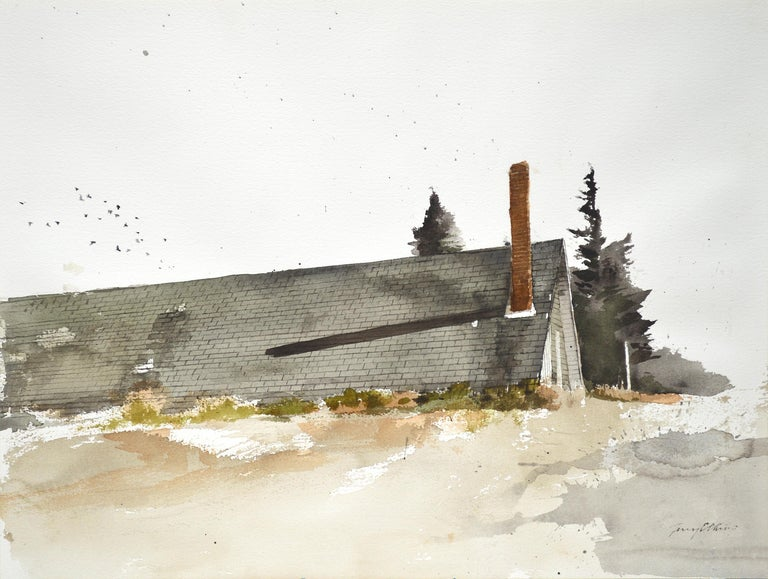 "Terry Elkins, ""Strong's Barn"" landscape with barn watercolor on paper - Painting by Terry Elkins"